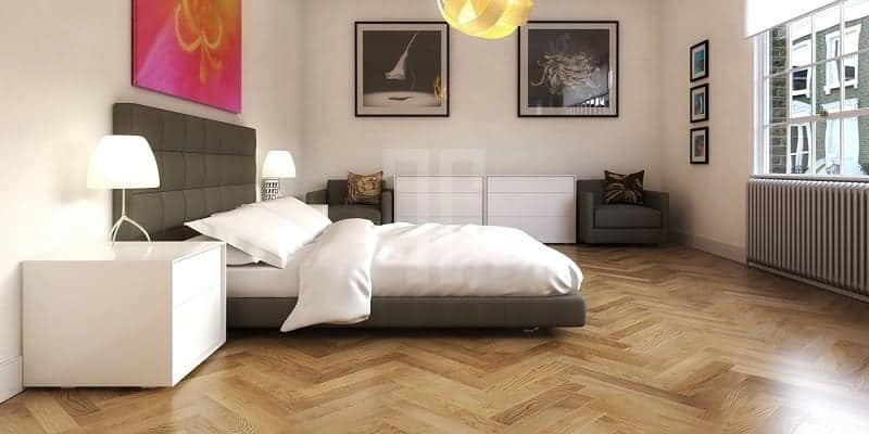 Herringbone Pattern Flooring for bedroom