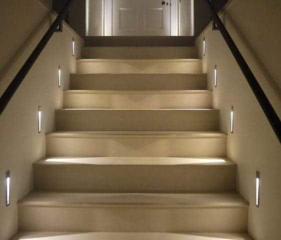 Indoor Lighting Under Staircase Handrail