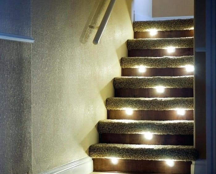 Multiple Lights Under Stairway Steps