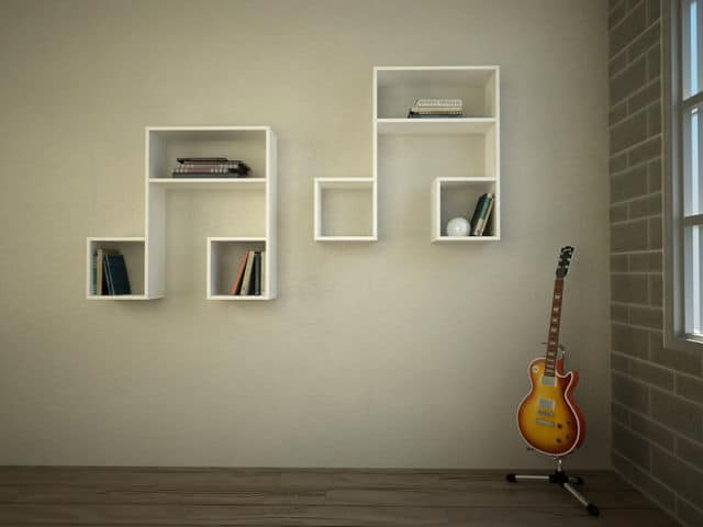 Note Shaped Unique Wall Shelving