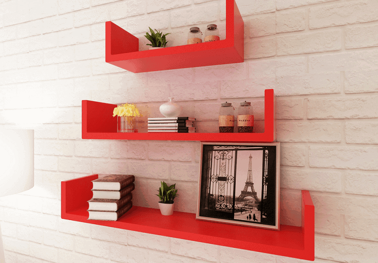 The 3 Red MDF U-shaped Floating shelves