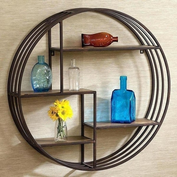 Vintage Industrial Round Wall Shelf