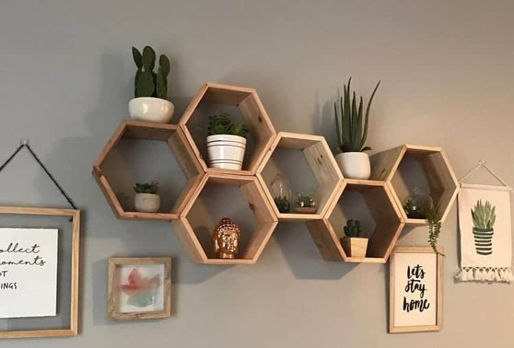 the wooden honeycomb shelf