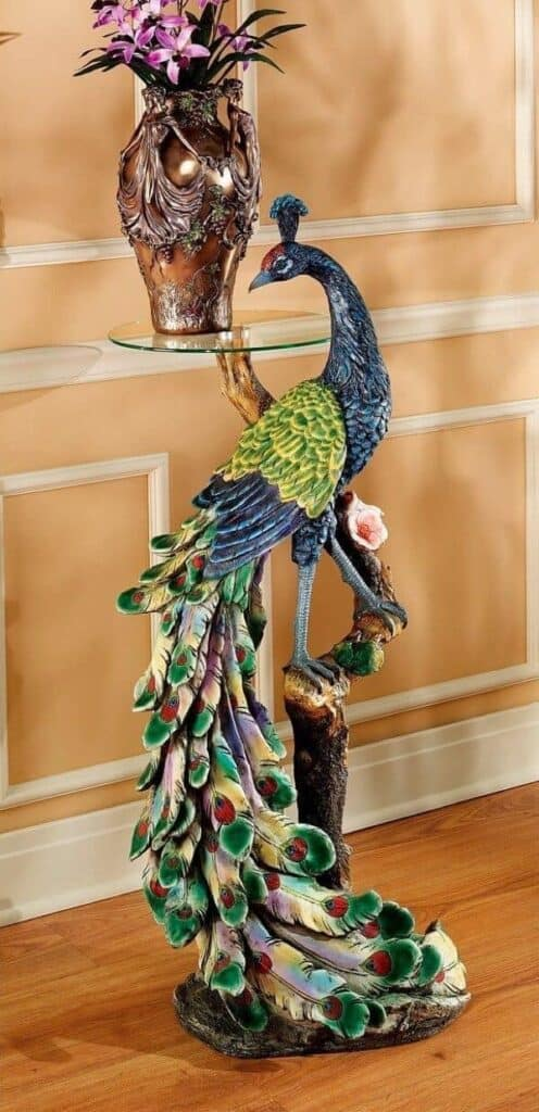 Peacock-Inspired Pedestal Table