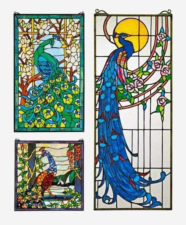Peacock-Themed Glass Windows