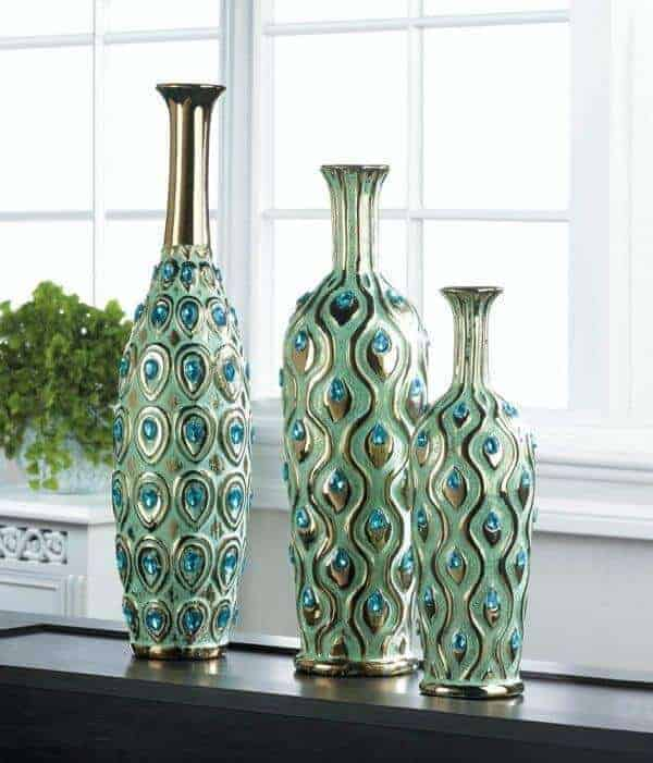 Peacock Themed Vases
