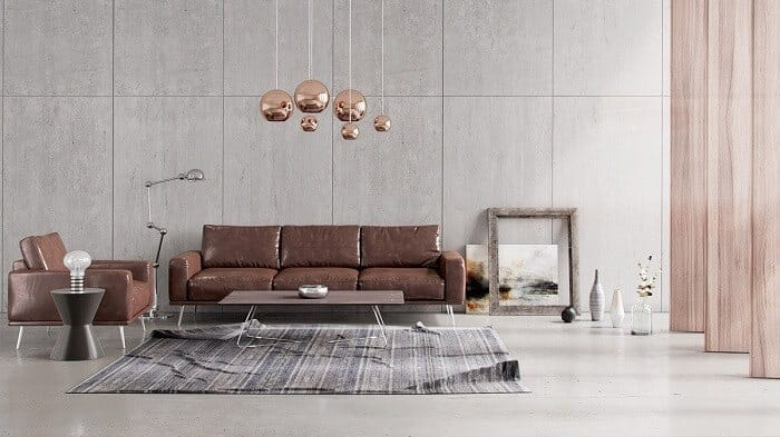 copper accents enveloping brown